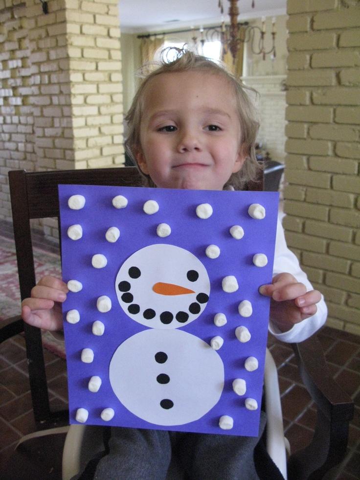 easy snowman marshmallow and circle art / preschool christmas