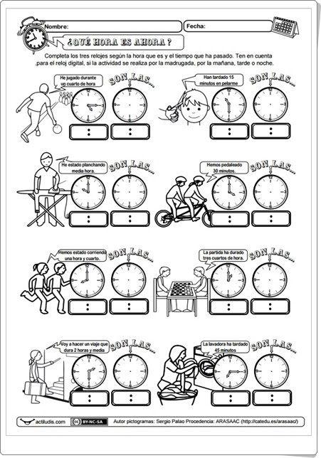 """Recursos didácticos para imprimir, ver, leer: Cuadernillo """"¿Qué hora es ahora?"""" de Sergio Palao (Actiludis.com)"""