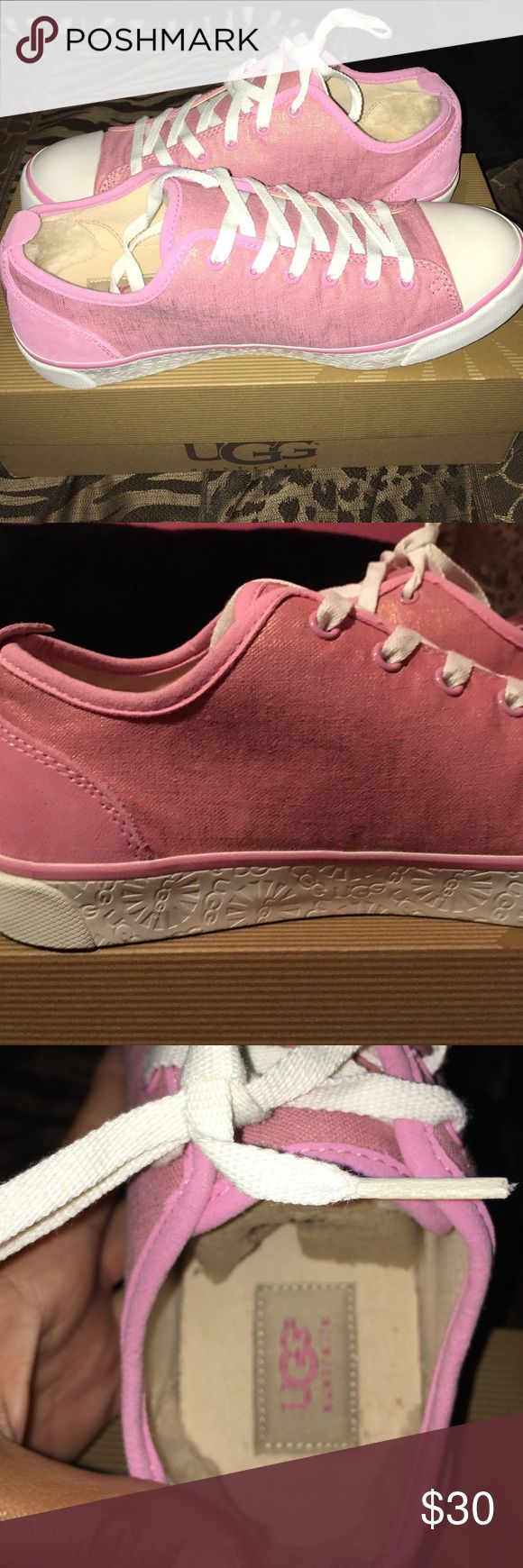 Ugg sneakers These are pink UGG sneakers with a gold tint. They are size 8. Only worn twice. Ask if you have any questions . UGG Shoes Sneakers