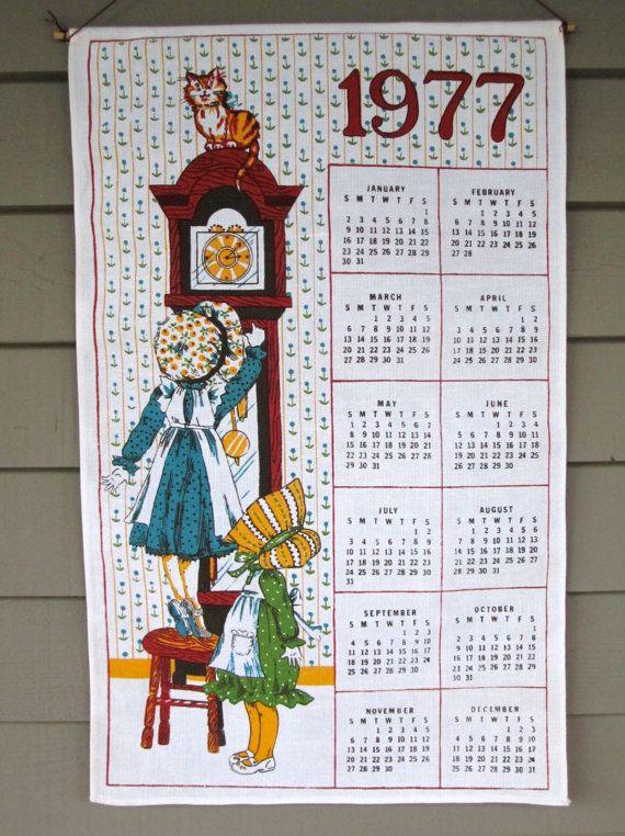 Vintage 1977 Holly Hobbie Tea Towel Calendar By