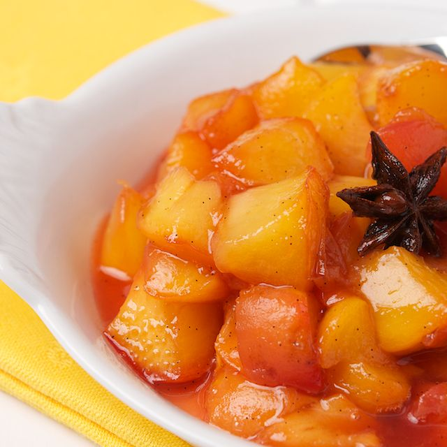 Peach Compote - I have a ton of peaches, thought I'd try this on waffles in the morning :-)