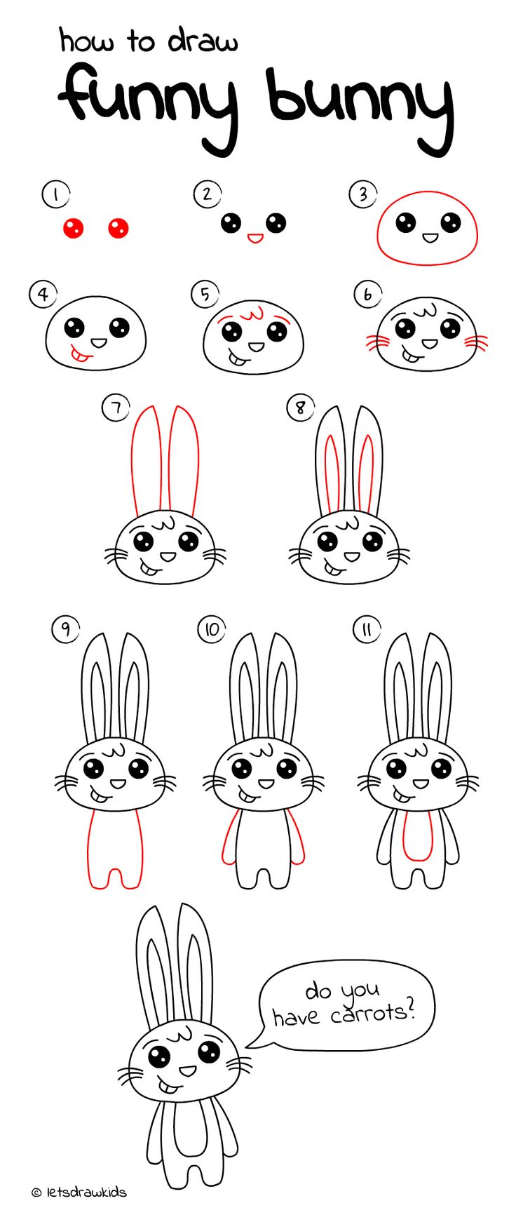 How to draw Funny Bunny. Easy drawing, step by step ...