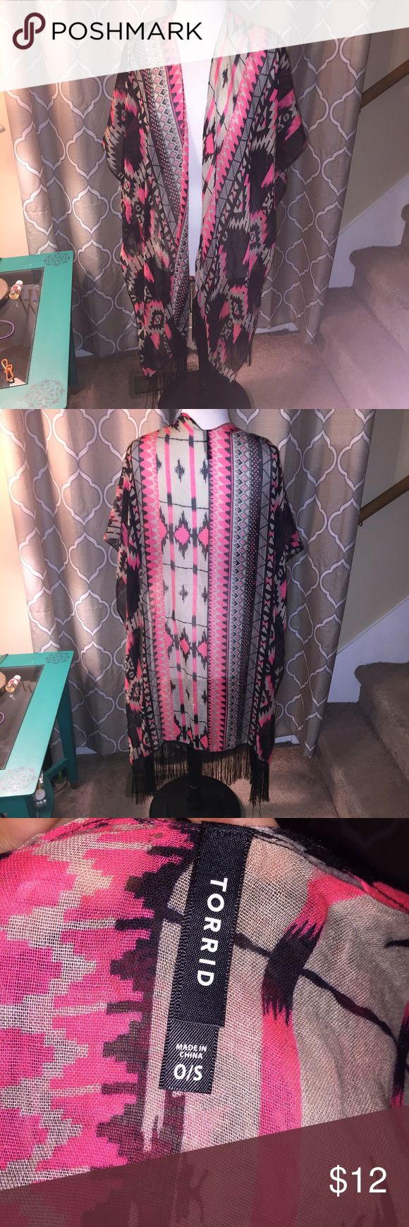 Torrid Aztec poncho pink blk fringe boho One size Torrid One Size Plus Fits 1X, 2X, 3X Tribal Gypsy Boho Aztec Fringe Poncho Sweater Cape Bright Pink & Black   Oversized Poncho Sweater/Wrap.  Open-Style open on sides for easy wear!  One Size: Plus (Fits 1X, 2X, 3X) Some signs of wear including a couple of small holes and small snags. Not noticeable when worn. Trendy, cute, Plus Size, torrid Tops Camisoles
