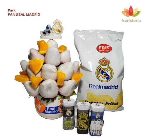 """Pack """"Fan Real Madrid""""   Ramo de frutas """"Real Madrid Fruit"""" más un paquete de patatas fritas edición especial Real Madrid (125grs) + Caja Real Madrid de Chicles sin Azúcar (sabor a menta)   #DiadelPadre"""