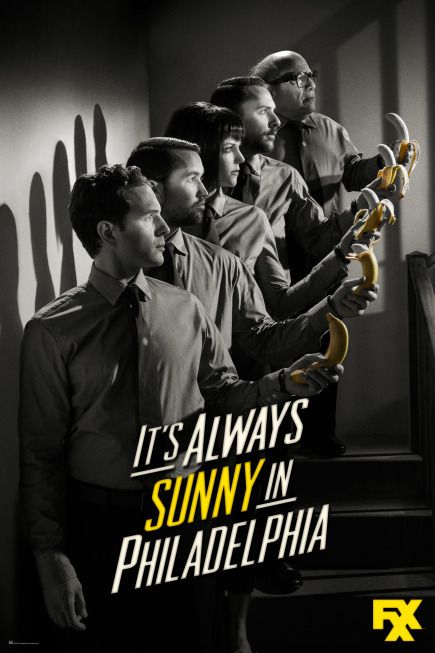 It's Always Sunny in Philadelphia. Created by Rob McElhenney.  With Charlie Day, Glenn Howerton, Rob McElhenney, Kaitlin Olson. Four young friends with big egos and slightly arrogant attitudes are the proprietors of an Irish bar in Philadelphia.