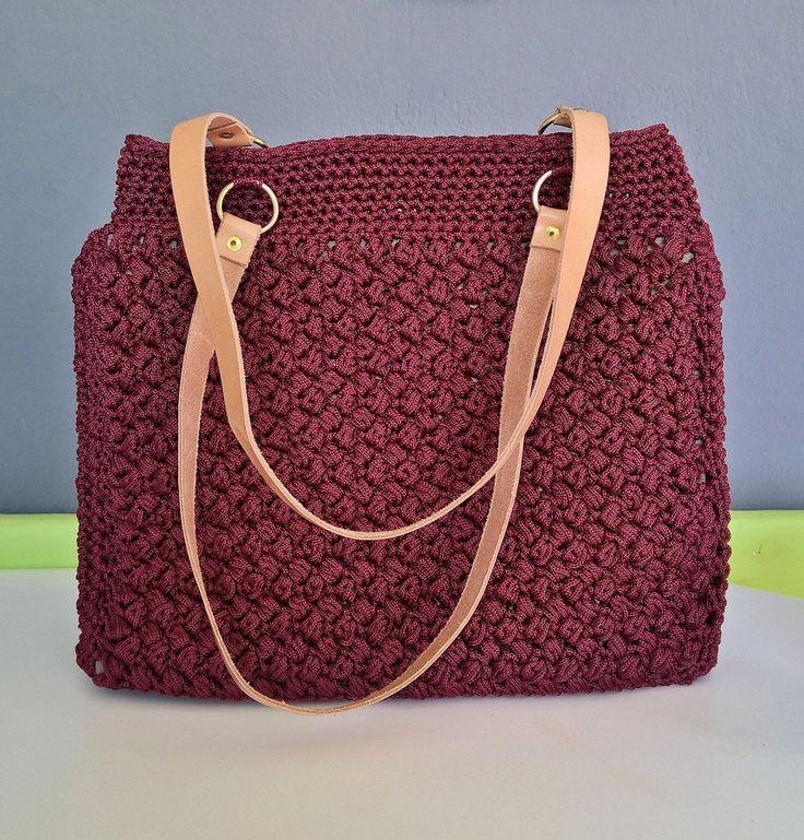 Shoulder Bag, Handmade Handbag, Crochet Handbag, Leather-Crochet Bag, Lunch Bag,  Tote bag, Knitting patterns, Women's gift, Leather handbag by FeMiGR on Etsy