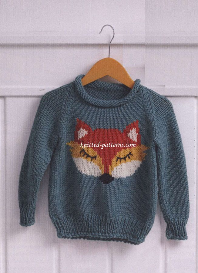 Pullover with fox head FREE pattern - size 104, 110, 116 (hva)