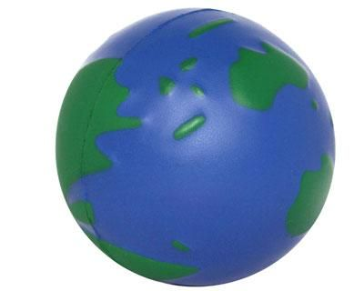 STRESS EARTH GLOBE BALL – S21  Price includes 1 color, 1 position print   2 Color imprint available for an additional charge  Decoration option: Pad print  Print Area: 27mm (D)  Product Size: 63 (D)