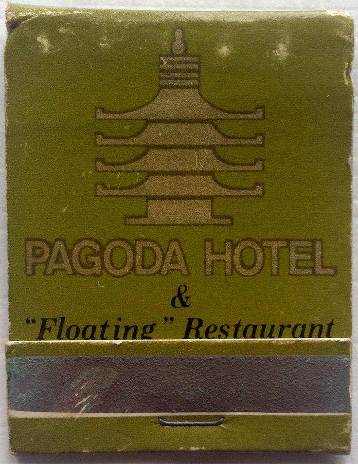 Pagoda Hotel & Floating Restaurant #frontstriker #matchbook - To design & order your business' own logo #matches GoTo: GetMatches.com #phillumeny #tiki