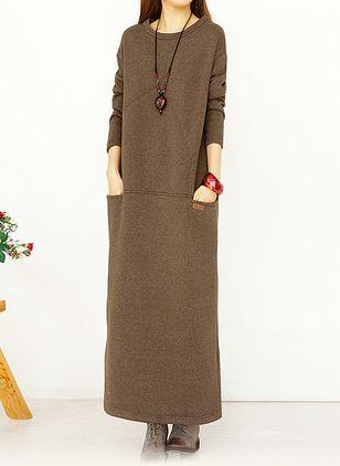 Algodão Reto Manga 1027707/1027707 Longo Informal Vestidos de (1027707) @ floryday.com