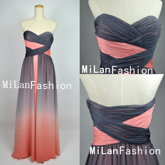 A Line Strapless Sweetheart Long Chiffon Prom Dresses, Homecoming Dresses, Bridesmaid Dress, Evening Dress by MiLanFashion, $163.00