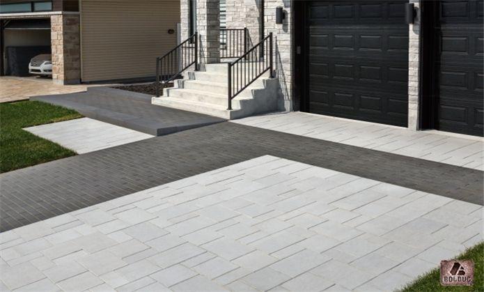 Pave Linia, noir et pavé Citadin modulaire gris granite et marche - pose de pave exterieur