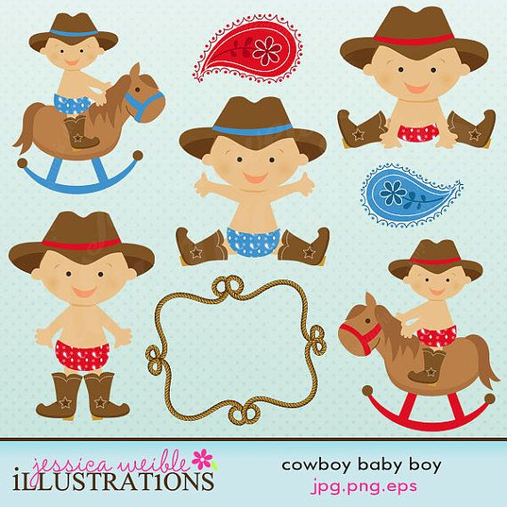 Cowboy Baby Boy Cute Digital Clipart for Card by JWIllustrations, $5.00