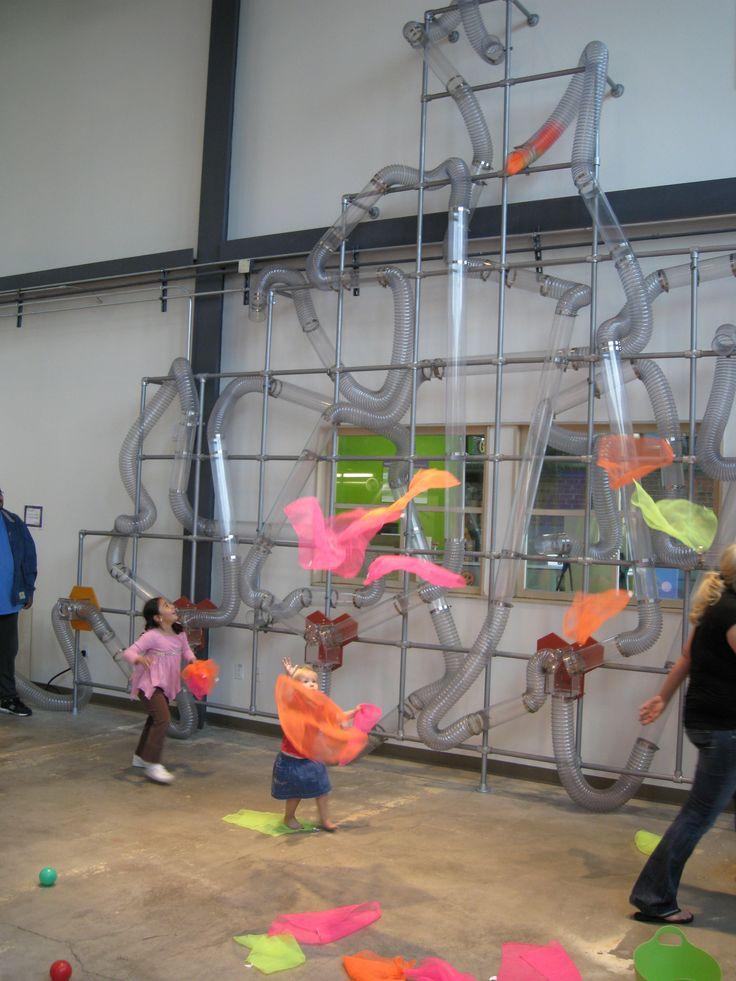 Children's Museum of Phoenix Whoosh exhibit -- air, transparent tubes, and bright scarfs