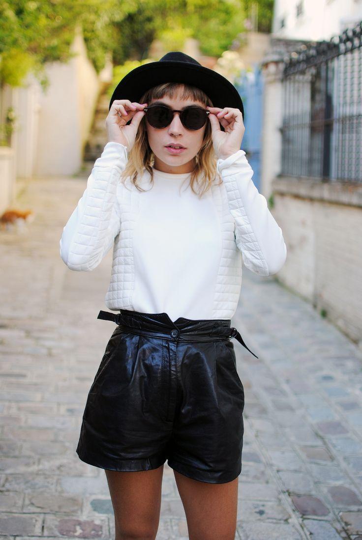Nouveau look : SWEAT NEOPRÈNE ET SHORT EN CUIR Photos Elise Dantec