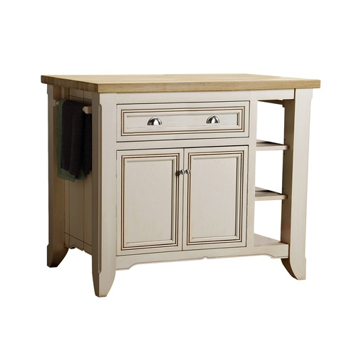 "Small Butcher Block Kitchen Island: Allen + Roth 42"" Glazed White Kitchen Island With Butcher"