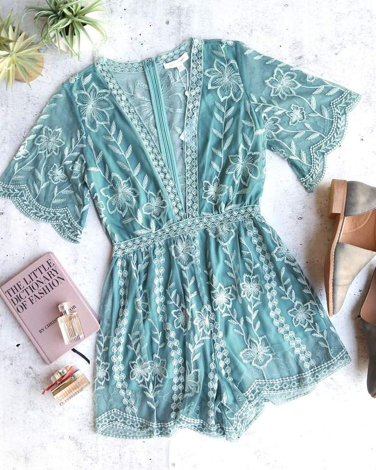 honey punch - as you wish contrasting embroidered lace romper (women) - dusty teal