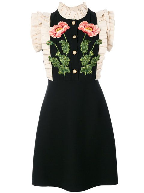 GUCCI Floral Embroidered Dress. #gucci #cloth #dress