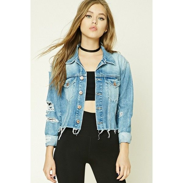 Forever21 Distressed Denim Jacket ($35) ❤ liked on Polyvore featuring outerwear, jackets, medium denim, cropped jacket, long jacket, long blue jacket, distressed jean jacket and forever 21 jackets