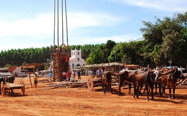 Fiéis preparam festa de Santo Antônio com fogueira de 30 metros em comunidade de Abaeté MG