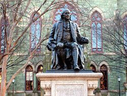 Statue of Benjamin Franklin in front of College Hall, Pennsylvania University