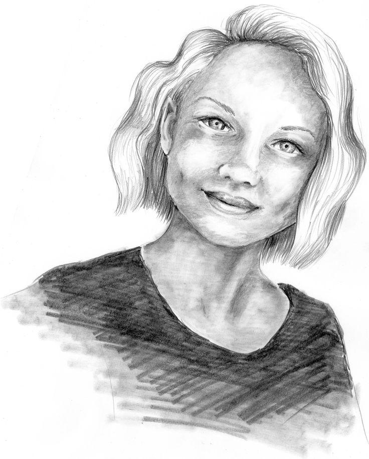Portret młodej kobiety, ołówek na papierze.