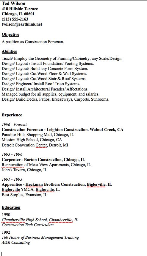 Sample Of Construction Foreman Resume - http://resumesdesign.com/sample-of-construction-foreman-resume/