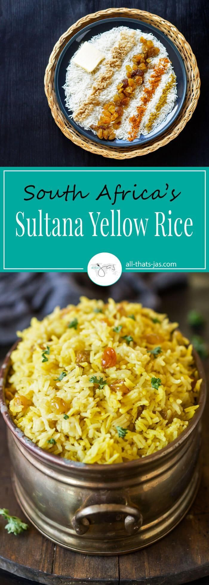 South Africa's sultana yellow rice with turmeric and curry has a fragrant, wonderful aroma and is a great accompaniment to just about any meal.