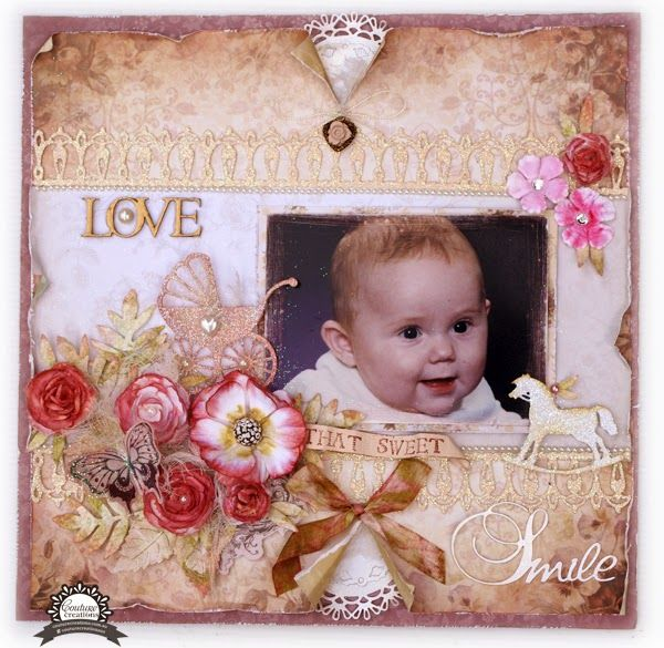 Couture Creations: Love that Sweet Smile Layout by Sue Smyth | #couturecreationsaus #scrapbooking #baby #decorativedies #heartsease