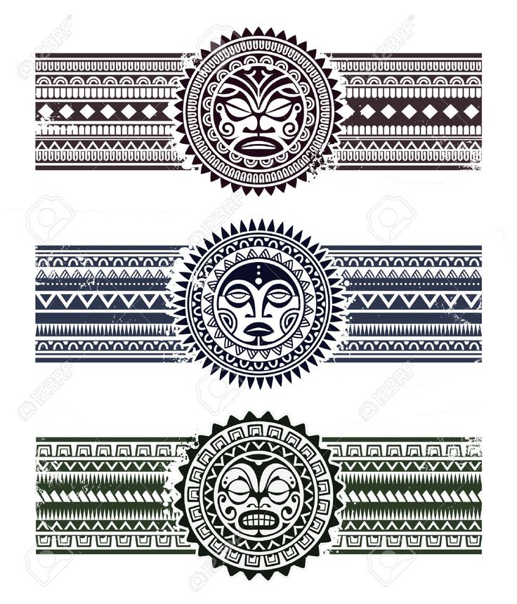 Polynesian tattoo styled masks with pattern bracelets. Vector illustration. Stock Vector