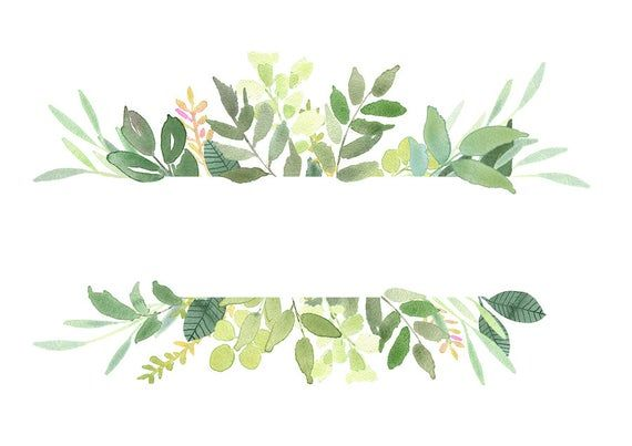 Green Leaves Frames Foliage Clipart Greenery Wedding Etsy Floral Wreath Watercolor Wreath Watercolor Watercolor Clipart