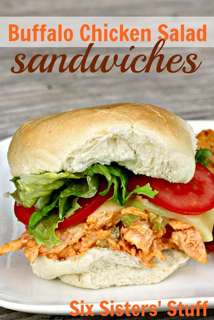 Buffalo Chicken Salad Sandwiches from SixSistersStuff.com- so easy to prepare and no oven required!