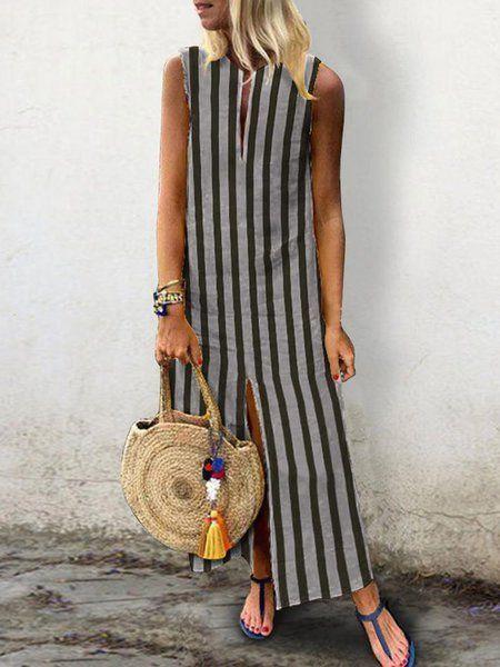 c947609603c Buy Summer Dresses For Women at JustFashionNow. Online Shopping  JustFashionNow Plus Size V neck Stripe