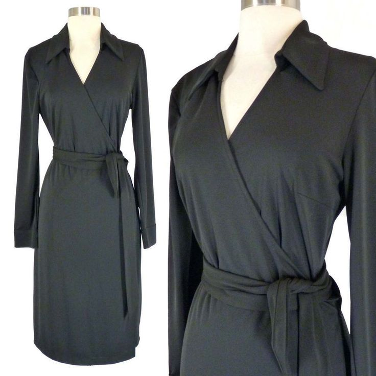 EXPRESS Black Classic Wrap Dress 1112 L Collared Long Sleeve Jersey Express WrapDress