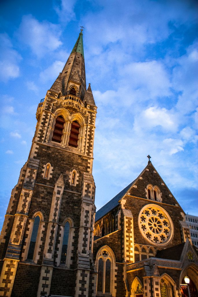 Evening view of Christchurch Cathedral before the earthquake.