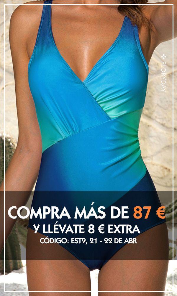 Banador De Bloques De Colores En Talla Grande Bloques De Color Moda De Trajes De Bano Moda Para Mujer