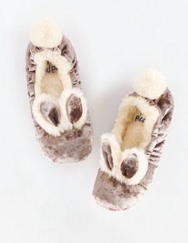 Truffle Velvet Bunny Slippers Boden