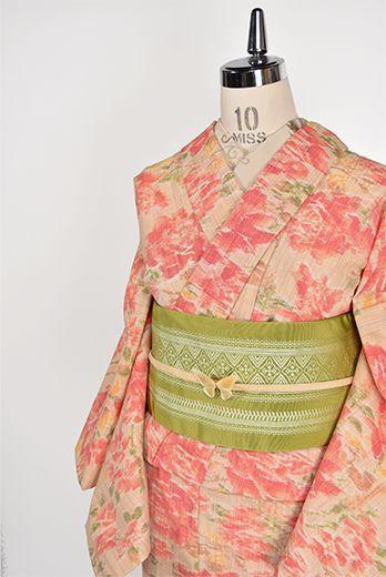 ソレイユルージュの薔薇の花美しいウール単着物 - アンティーク着物・リサイクル着物のオンラインショップ 姉妹屋