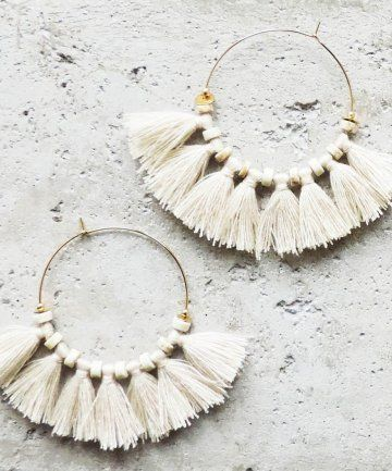 Amazing Beige pompom earrings #women #boheme #accessories #caroles #print …
