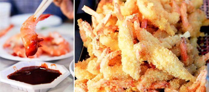 Photo) Depuis la gauche : crevette grillee / crevette frite