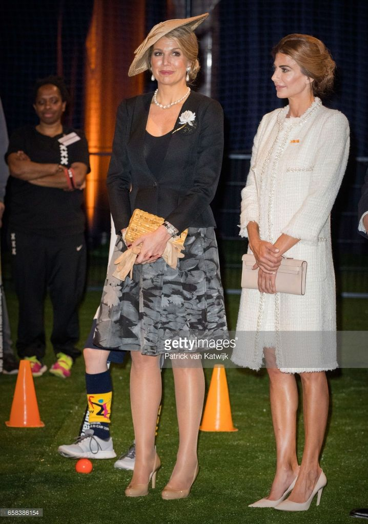 Queen Maxima of The Netherlands and Juliana Awada visit the Hockey Clinics in the Beurs van Berlage on March 27, 2017 in Amsterdam, The Netherlands. The President of Argentina is in the Netherlands for a two-day official state visit.