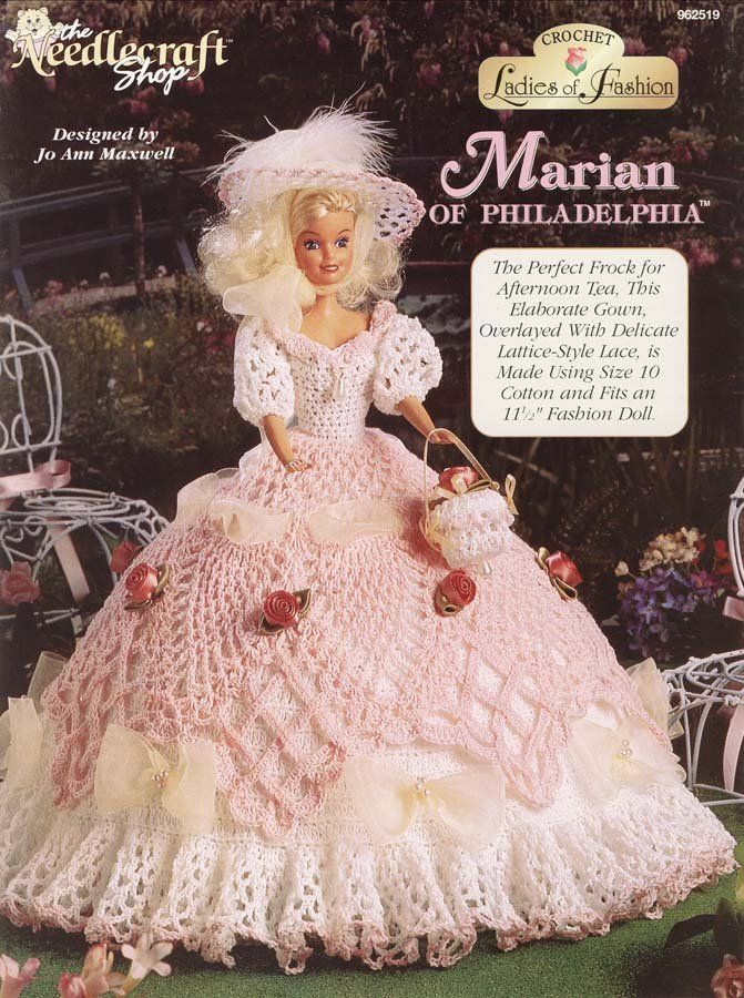 The Needlecraft Shop's Crochet Ladies of Fashion Marian of Philadelphia (1996) - Dress for Barbie... I'm buying this pattern!  I MUST make this gown!