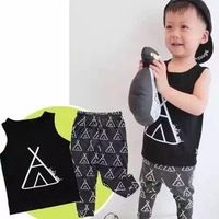 Kikikids kinderen kleding jongens en meisjes triangel zwarte sets, peuters' tank tops en broeken, kid's kleding zomer korte sets op voorraad
