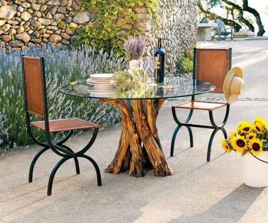 outdoor dining set consisting of industrial dining chairs tree trunk base dining table with round glass top of Fascinating and Creative Tree Trunk Table Ideas for Indoor - Outdoor Use