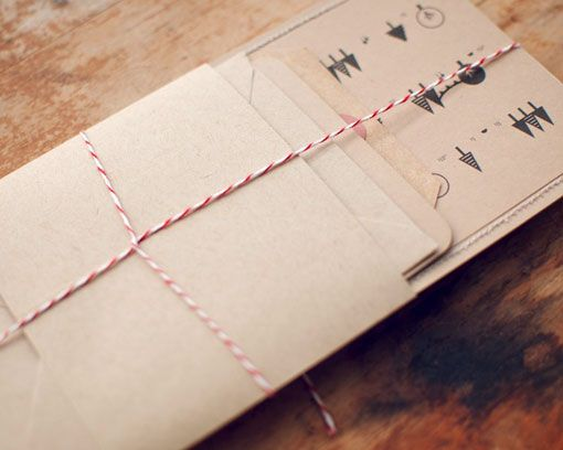 twine, organic feel, brown parchment paper