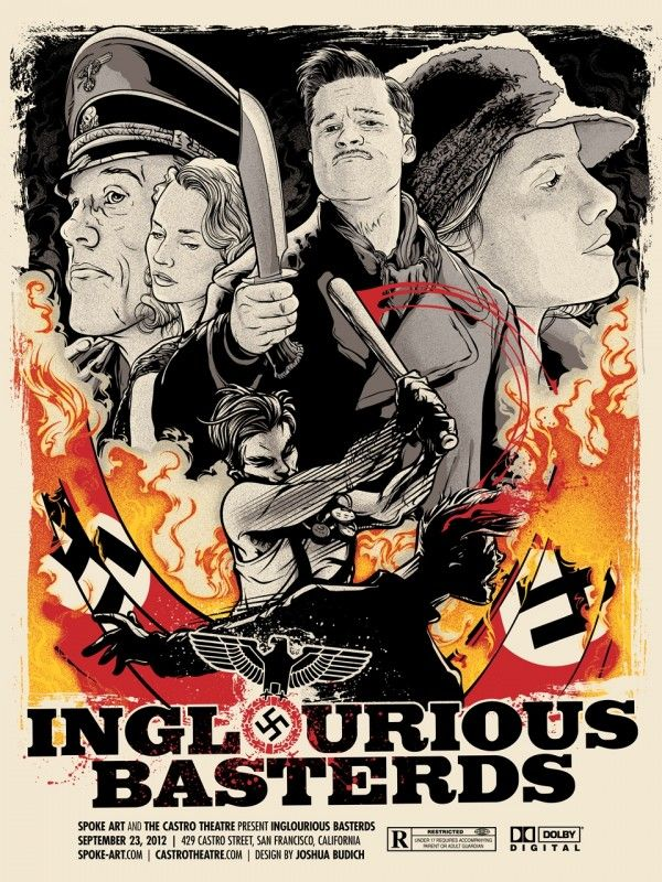 """Inglourious Basterds"" – Spoke Art & The Castro Theatre  18""x24"", 5-color screenprint; limited-edition of 100, signed and numbered."