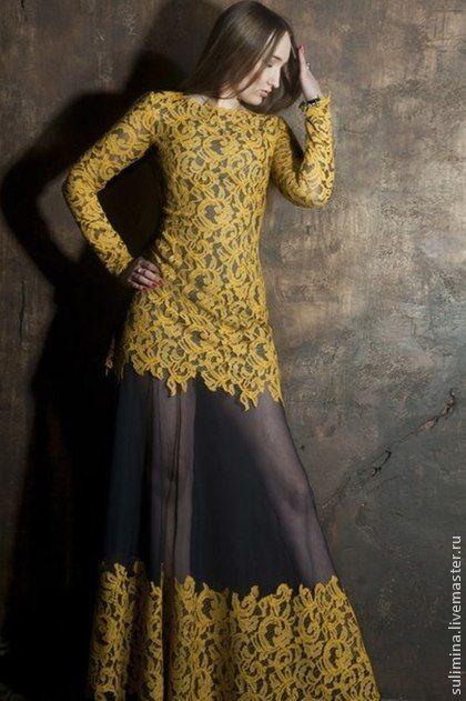 Платье длинное, желтое кружево  ГЛАМУР. Платье длинное, желтое кружево, основа-сетка -стрейч ' ГЛАМУР '    Для очень важного события в жизни!   Заставит ваших воздыхателей прийти в восторг от вас!    В наличии 42 размер, любой размер на…