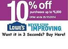 2 Lowes 10% Off Coupons-For In Store Use Only -Fastest Shipping-Expires 5/15 - http://oddauctions.net/coupons/2-lowes-10-off-coupons-for-in-store-use-only-fastest-shipping-expires-515/
