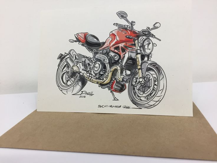 Dave Hendroff Illustrations A6 Blank Card, with matching Buff envelope, Ducati Monster 1200, $5.50