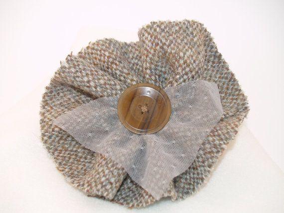 Earthtone Barleycorn Harris Tweed Brooch with by GoldenpennyCrafts